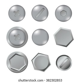 Metal bolts isolated on white background. Vector illustration. Collection. Mesh illustration