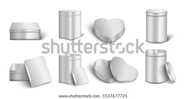Metal box mockup set - realistic open and closed silver boxes with rectangle, heart and cylinder shapes isolated on white background - packaging mock up vector illustration.