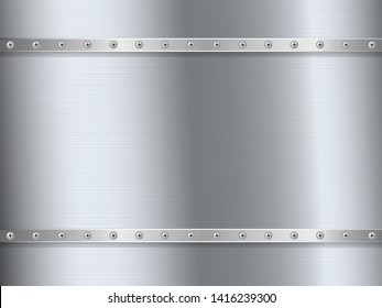 Metal brushed steel plates with screw
