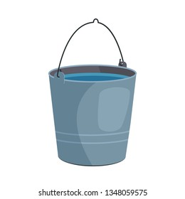 Metal bucket illustration. Basket, home, cleaning. Houseware concept. Vector illustration can be used for topics like home, cleaning, houseware