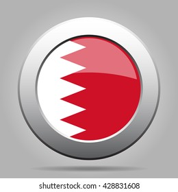 metal button with the national flag of Bahrain on a gray background