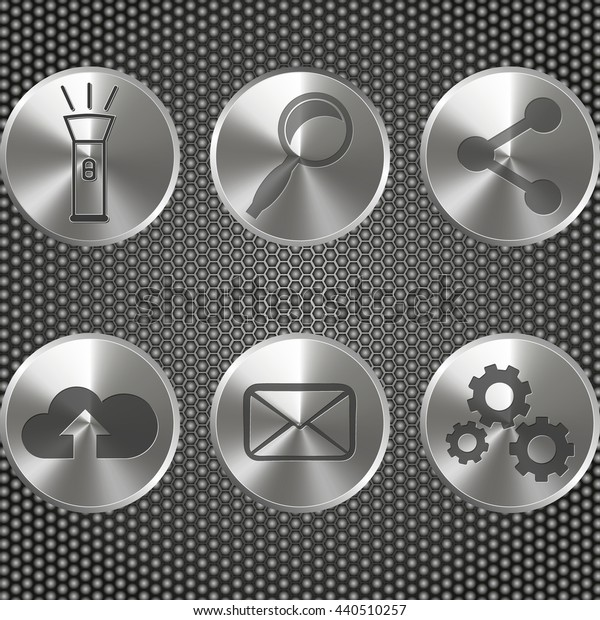Metal buttons. on metal honeycomb background Vector illustration.