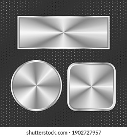 Metal buttons. Round, rectangle and oval buttons on perforated background. Eps 10 vector illustration.