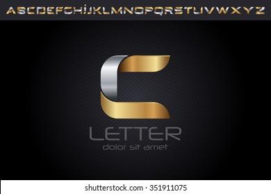Metal C Letter Logo, alphabet logo design.