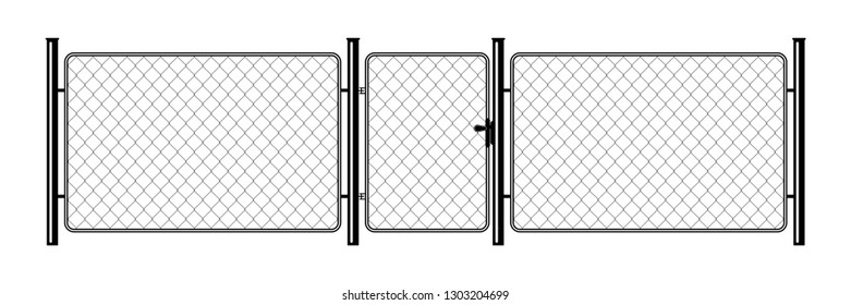 Metal chain link fence. Art design gate. Prison barrier, secured property. The chain link of fence wire mesh steel metal. Rabitz.
