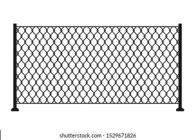Metal chain link fence. Mesh steel net texture fence cage grid wall. Barrier, gate, secured property. The chain link of fence wire mesh steel metal. Fence geometric background – stock vector