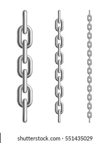 Metal chain links. Different length elements. Isolated on white background. Vector illustration.