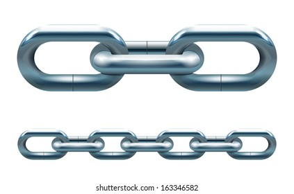 Metal chain links vector illustration isolated