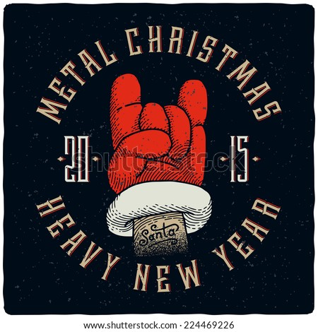 metal christmas and heavy new year t shirt print with santa claus hand rock - Heavy Metal Christmas