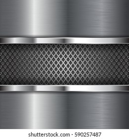 Metal chrome brushed background with perforation. Diamond shape holes. Vector 3d illustration