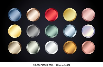 Metal chrome circle buttons set. Vector Metallic rose gold, bronze, silver, steel, holographic, golden badge. Foil shiny color design elements for background, web, apps.