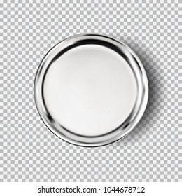Metal chrome steel plate isolated on transparent background. Kitchen dishes for food, plate for kitchen, dishware. Button vector illustration for your product, food ads, tableware design element.
