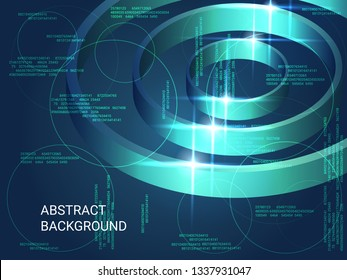 Metal circles sparkle on the background. 3D vector illustration . Minimal geometric background. Abstract composition. Green three-dimensional metal circles in space.