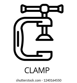 Metal clamp icon. Outline metal clamp vector icon for web design isolated on white background
