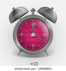 Metal Classic Style Alarm Clock. Vector Illustration. Eps 10.