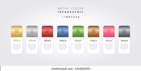 Metal color infographic vector design metallic gradient colorful UI template, elegant business work presentation process diagram workflow 8 step layout banner gold silver bronze steel flow chart graph