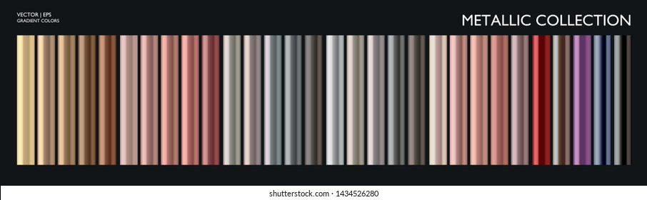 Metal color. Metallic gradient. Metallic pen mockup. Gold, silver, pearl, bronze palette. Color collection. Steel, iron, aluminium, tin. Holographic background template. Cocktail straw. Chrome texture