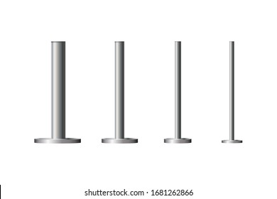 Metal column.Metal pole post, steel pipe of various diameters installed are bolted on a round base isolated on a transparent background.