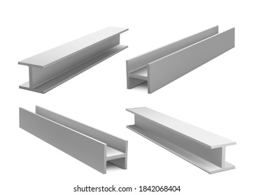 Metal construction beams, steel structure girders isolated on white background. Vector realistic set of iron joist for building, stainless structural profile. 3d illustration of strong i-beams
