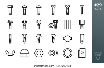 Metal Construction Hardware icon set. Set of bolts, nuts, screws, lock washer, pvc dowel, pipe clamp, roofing screw, steel ring anchor bolt, furniture euro screw, metal nail isolated vector icons