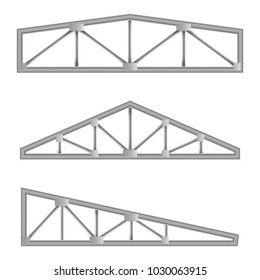 Metal constructions isolated on white background. Collection of steel trusses. Roof element. Steel truss girder element. Horizontal steel structure for road signs.