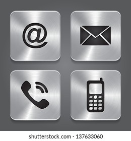 Metal contact buttons - set icons - email, envelope, phone, mobile. Vector illustration