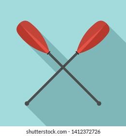 Metal crossed oars icon. Flat illustration of metal crossed oars vector icon for web design