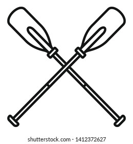 Metal crossed oars icon. Outline metal crossed oars vector icon for web design isolated on white background