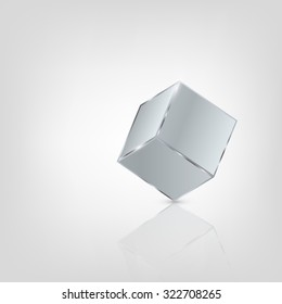 Metal cube on glossy surface.Vector illustration