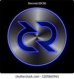 Metal Decred (DCR) cryptocurrency coin with blue neon glow.