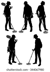 Metal Detecting silhouette on white background
