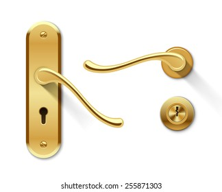 Metal door handles and door lock. Realistic vector set