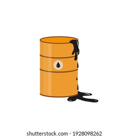 Metal drum of oil, defective or leaking. Oily flammable liquid has been spilled. Oil icon. Vector illustration