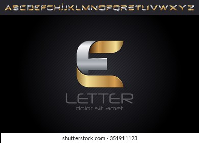 Metal E Letter Logo, alphabet logo design.