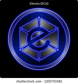Metal Electra (ECA) cryptocurrency coin with blue neon glow.