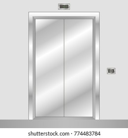 Metal elevator with closed doors. Realistic office building lift. Vector illustration.
