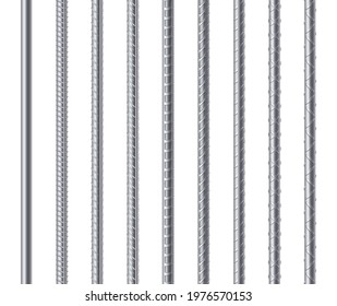 Metal endless rebars, reinforcement steel reinforced rods set isolated on white background. Construction metal armature. Realistic 3d vector illustration