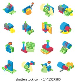 Metal extraction icons set. Isometric set of 16 metal extraction vector icons for web isolated on white background