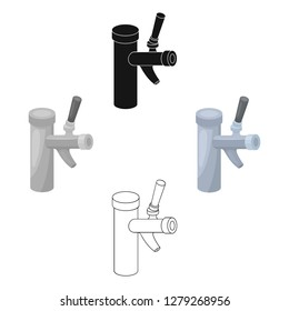 Metal faucet for dispensing cold kvass and beer in bars. Pub pattern icon in cartoon style vector symbol stock illustration.