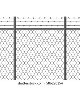 Metal fence with barbed wire. Fortification, secured property, separation concept. Prison barrier. Steel construction for danger areas, safe zones, borders protection. Flat modern vector illustration.