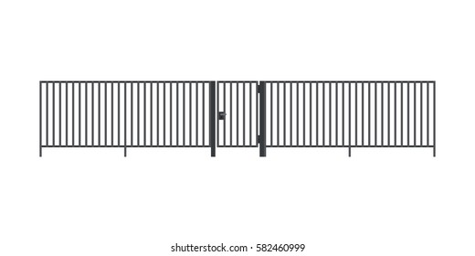 Metal fence with gate in flat style isolated on white.