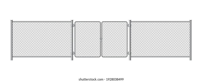 Metal fence panels with welded wire mesh in realistic style. Gate steel chain link template. Protective guard outdoor netting. Vector illustration isolated on white background.