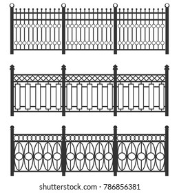 Metal fence-grid, forged fence. A set of fences made of black grating. Isolated chain linked fences metal. Flat design, vector illustration, vector.