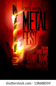 Metal fest design template with guitar in flames and place for text