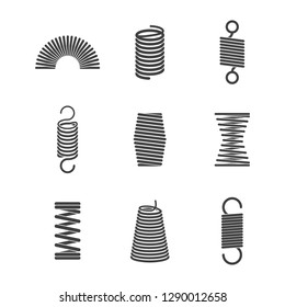 Metal flexible spiral. Suspension steel wire coils vector icon collection
