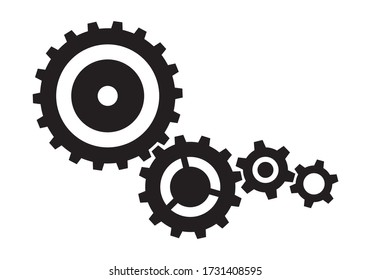 Metal gear cogs set. Wheel symbol, machine engine element.  Isolated elements on white background.