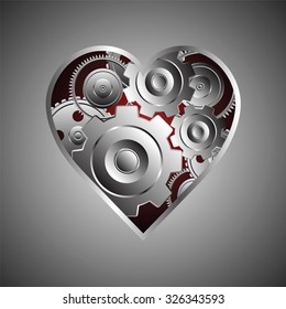 metal gear and coqwheel with heart shape, metaphor concept