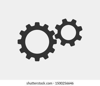 Metal gears and cogs vector. Gear icon flat design. Mechanism wheels logo. Cogwheel concept template.