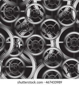 Metal gears seamless pattern design background vector illustration.