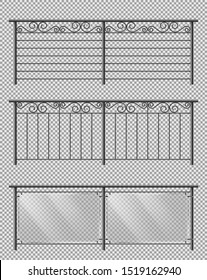 Metal, glass handrail or fencing sections set with forged steel, spiral decorative elements, metallic lattice and plexiglass sheets 3d realistic vector illustrations isolated on transparent background